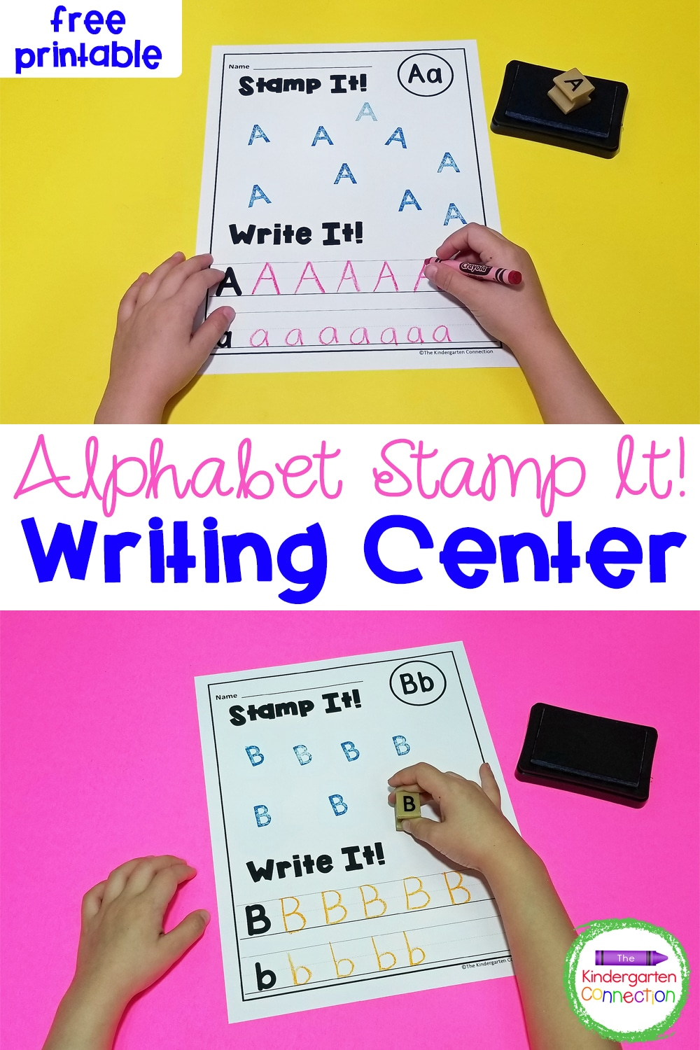 Have a blast practicing letter recognition and formation with these fun and free Alphabet Stamp Handwriting Printables for early learners!