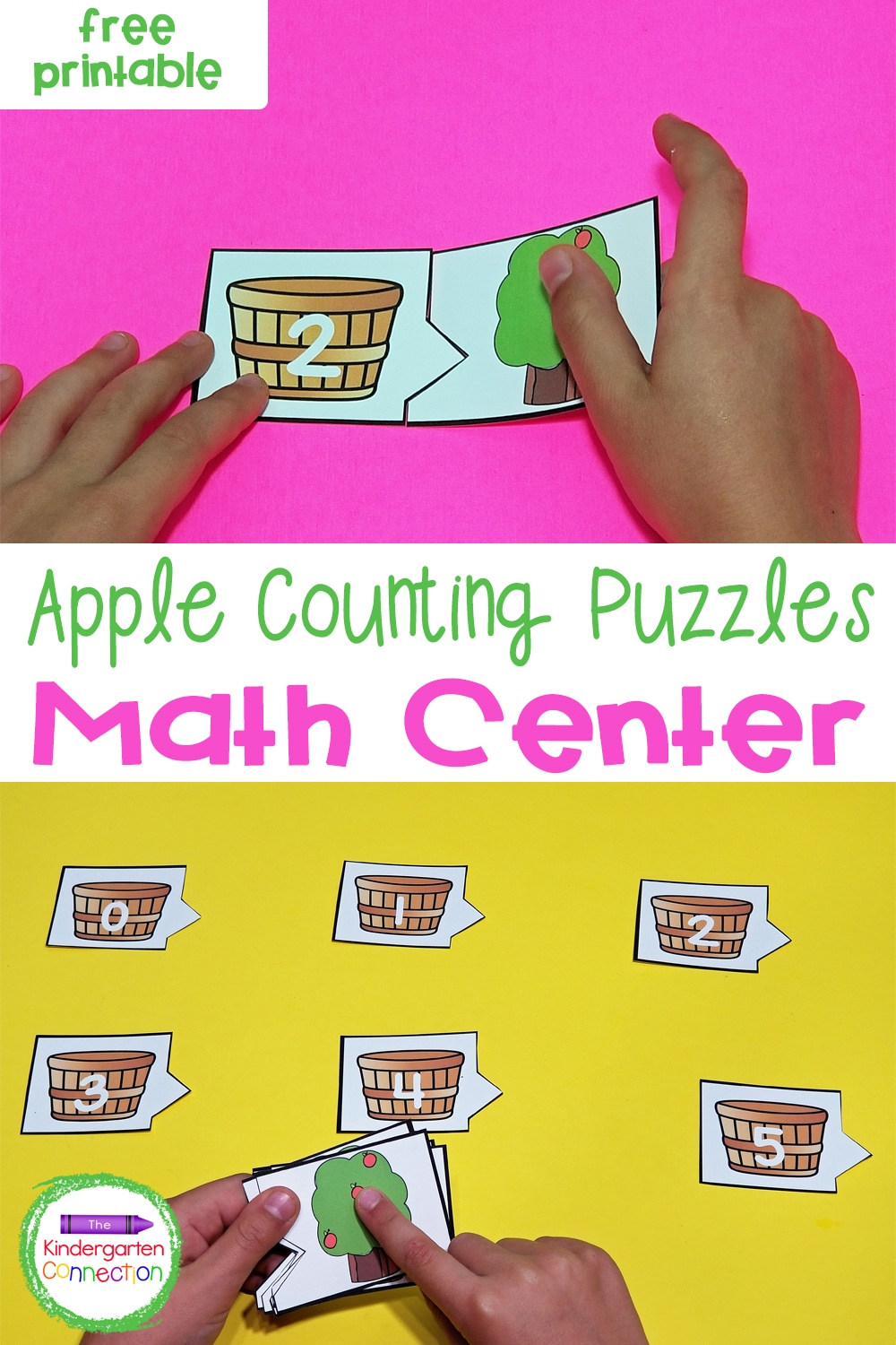 These free Apple Tree Counting Puzzles for Pre-K & Kindergarten are great practice for number recognition and counting sets to 10!