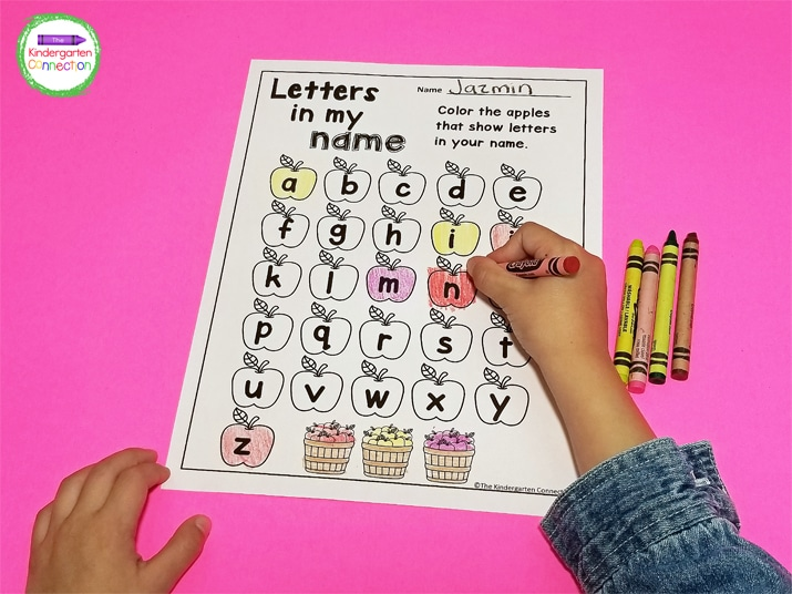 This fun printable invites students to search for and color the apples that have letters found in their name.