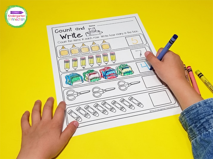This Count and Write printable works well as a quick review and adds in some fine motor/pencil grip practice.
