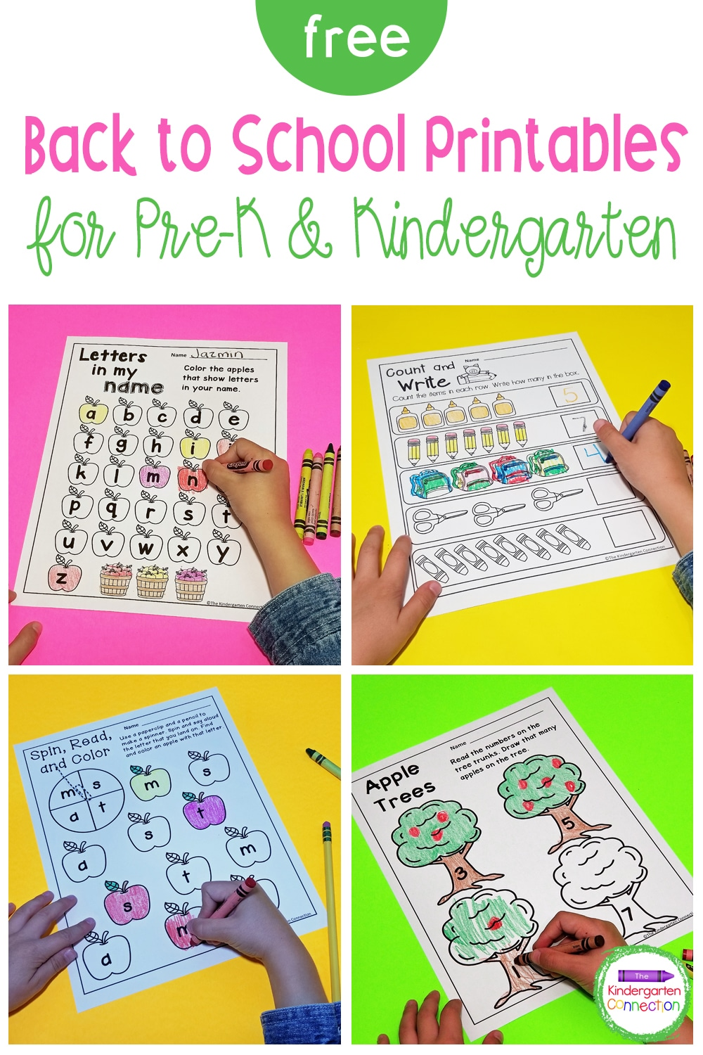 These Back to School printables for Pre-K & Kindergarten are a quick, low-prep way to have some fun learning those first days back!