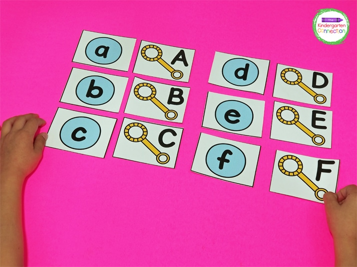 We first began by laying the bubble letters out on the table in alphabetical order from a-z.