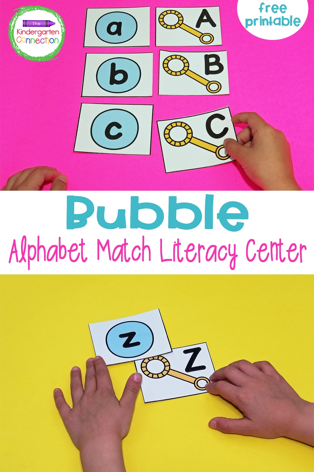 Match uppercase and lowercase letters with this free Bubble Alphabet Match! It's perfect to print and play in spring, summer, or any time!