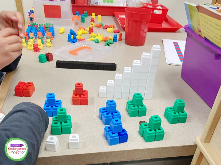 Make cleaning up manipulatives like counting bears and unifix cubes fun and fast with this tip.