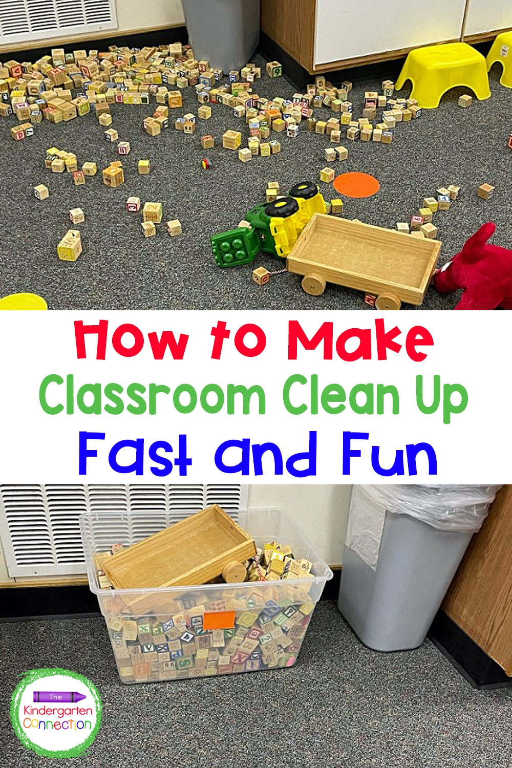 Sometimes the mess is too big and cleaning up feels overwhelming. Try this easy and effective tip for making classroom clean up fast and fun!
