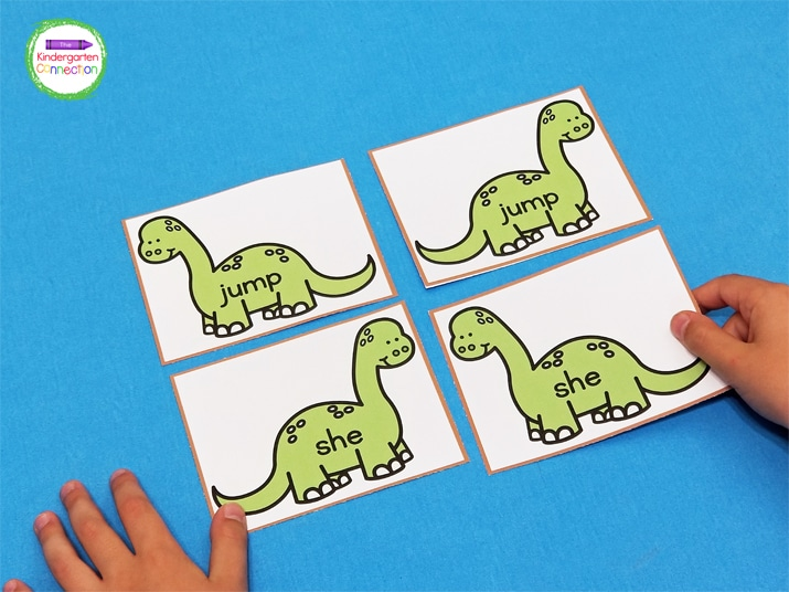 Continue pulling dinosaur cards and finding pairs until you have matched up all of the sight words.