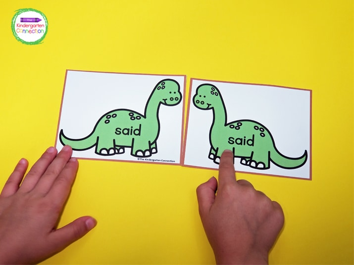 To play, pull one dinosaur card at a time, read the sight word, and look for its match.