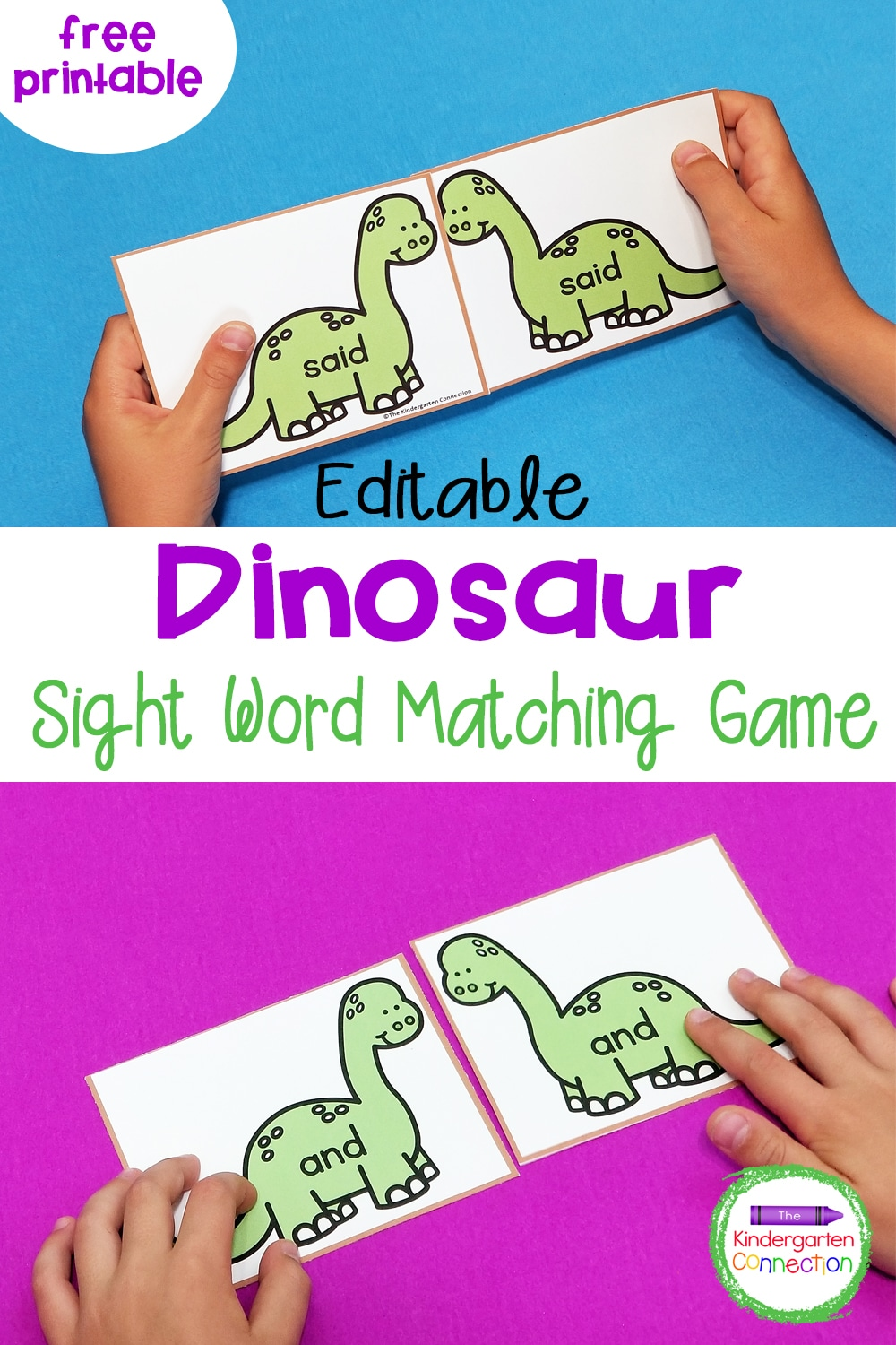 This free and editable Dinosaur Sight Word Game for Kindergarten is so fun and can be customized for any word list!