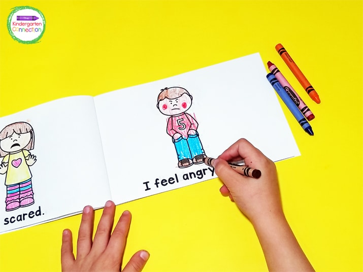 Each page in the emergent reader has a picture of a child with a facial expression matching the emotion in the sentence.