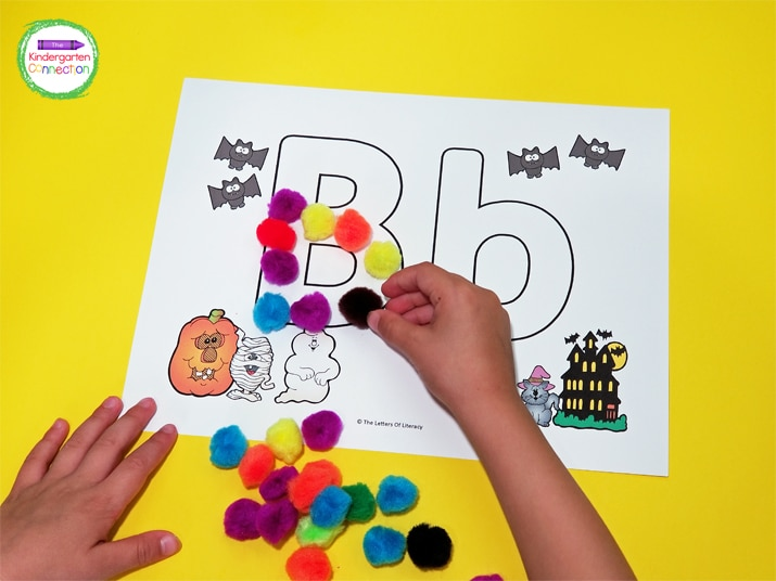 You can also fill in the letters with other fun manipulatives like pom poms.