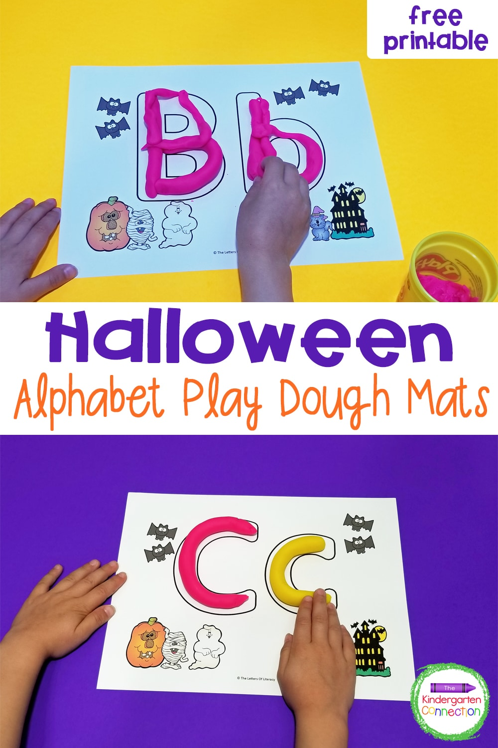 Practice fine motor skills and letter formation in a fun way with these free Halloween Alphabet Play Dough Mats for Pre-K & Kindergarten!