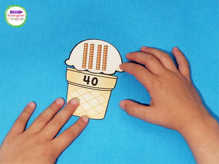 This activity comes with base 10 ice cream scoop cards and number ice cream cone cards for matching.