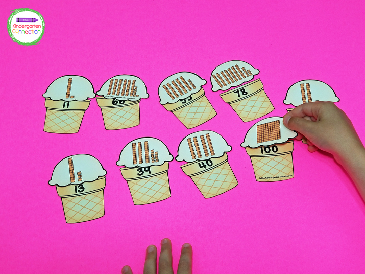 Print, laminate, and cut the ice cream base 10 math puzzles for reuse and durability.