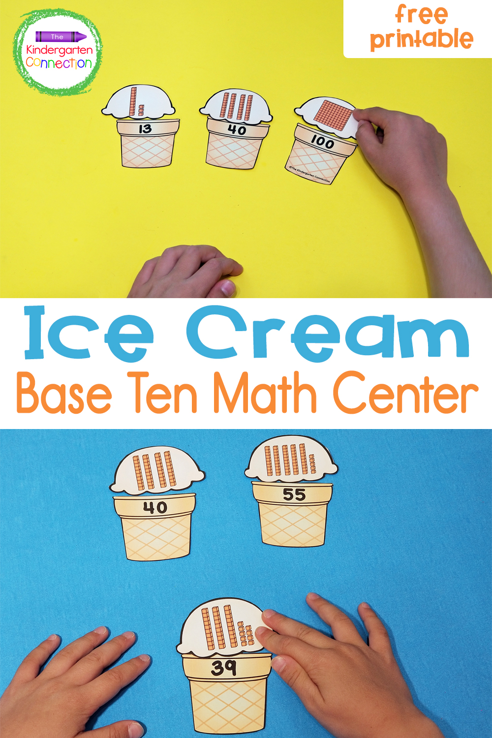 Count up the base 10 blocks on the ice cream scoops and match them to their cones with these fun and free Ice Cream Base 10 Puzzles!