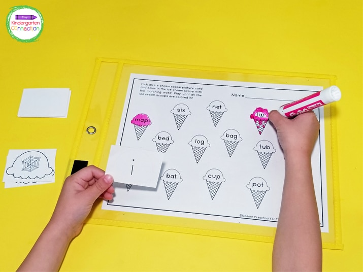 To make this activity reusable, place the recording sheet in a dry erase pocket sleeve. The kids can use a dry erase marker to color.