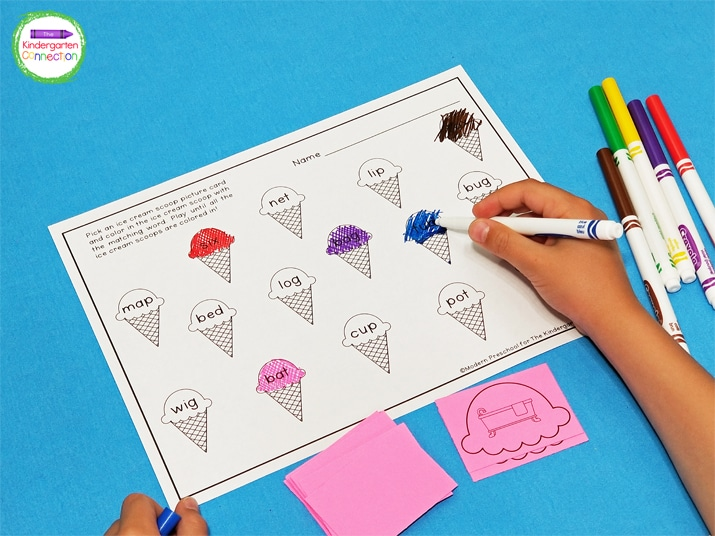 Students pick an ice cream scoop card and color the matching CVC ice cream cone on the recording sheet.