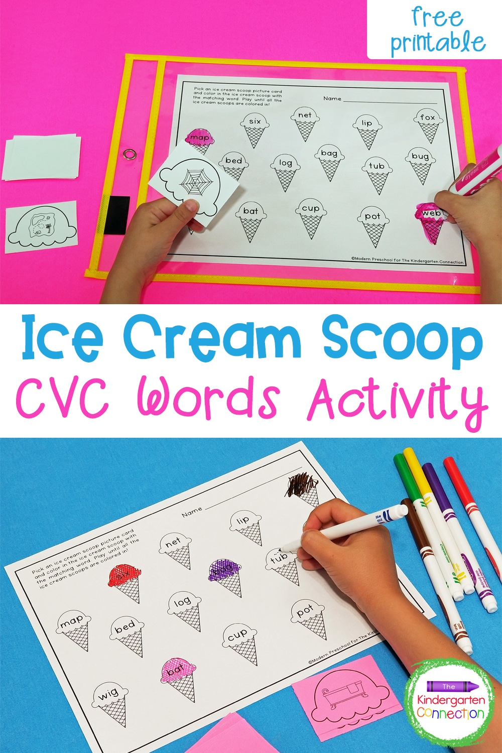 Work on reading short vowel words with this free Ice Cream CVC Word Match Activity! It's perfect for Kindergarten and first grade!