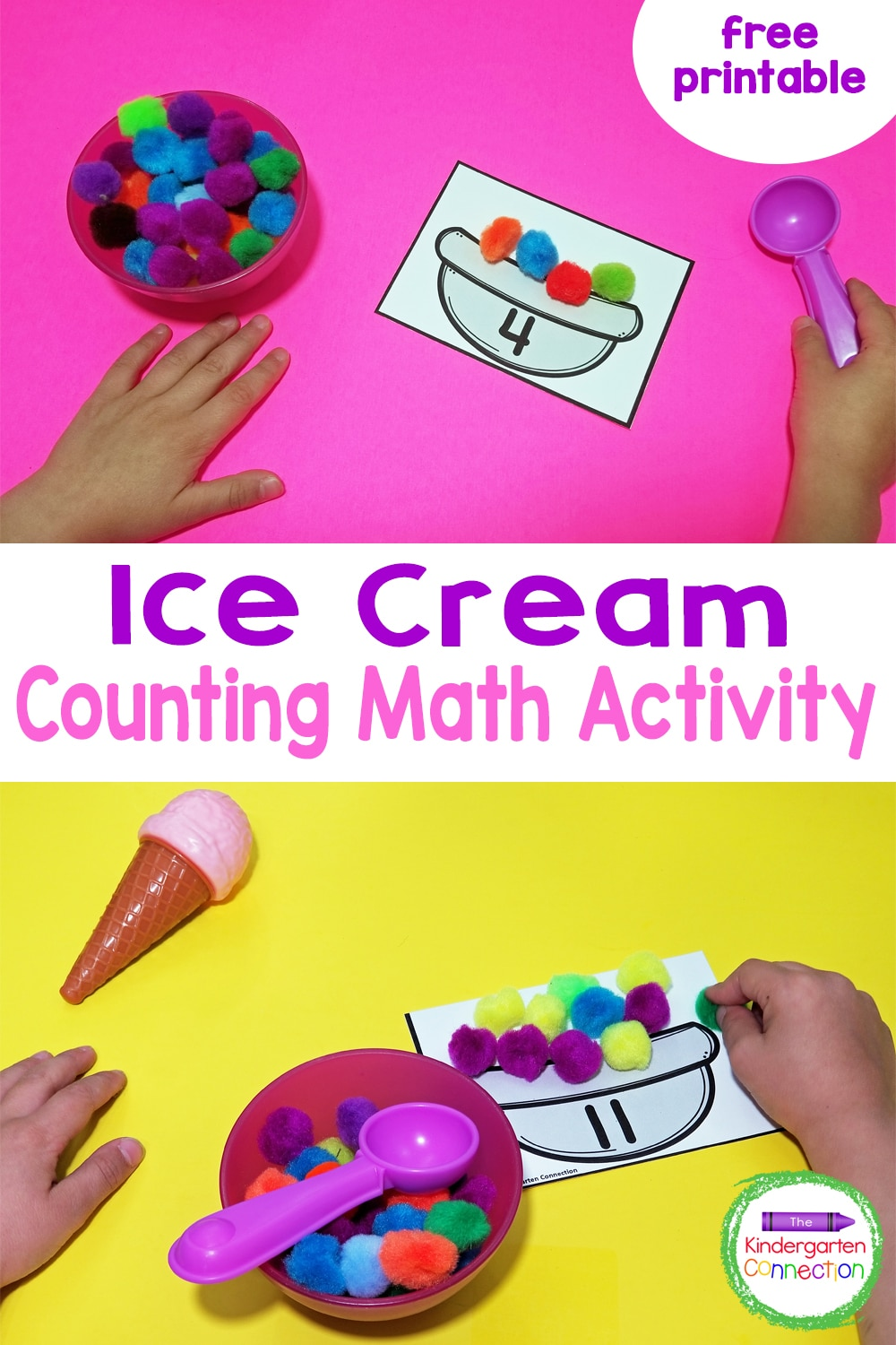These fun and free Ice Cream Counting Mats are perfect for practicing number recognition and counting sets to 12 in Pre-K and Kindergarten!