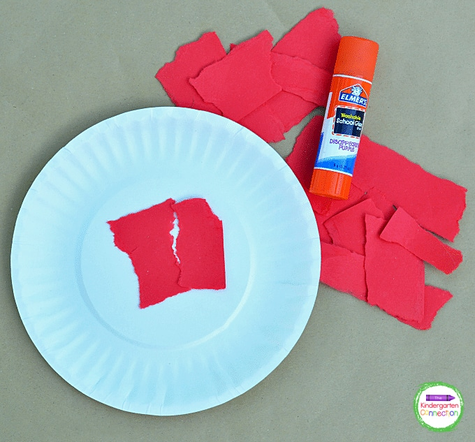 Grab some construction paper, paper plates, and a glue stick to make this simple apple craft.
