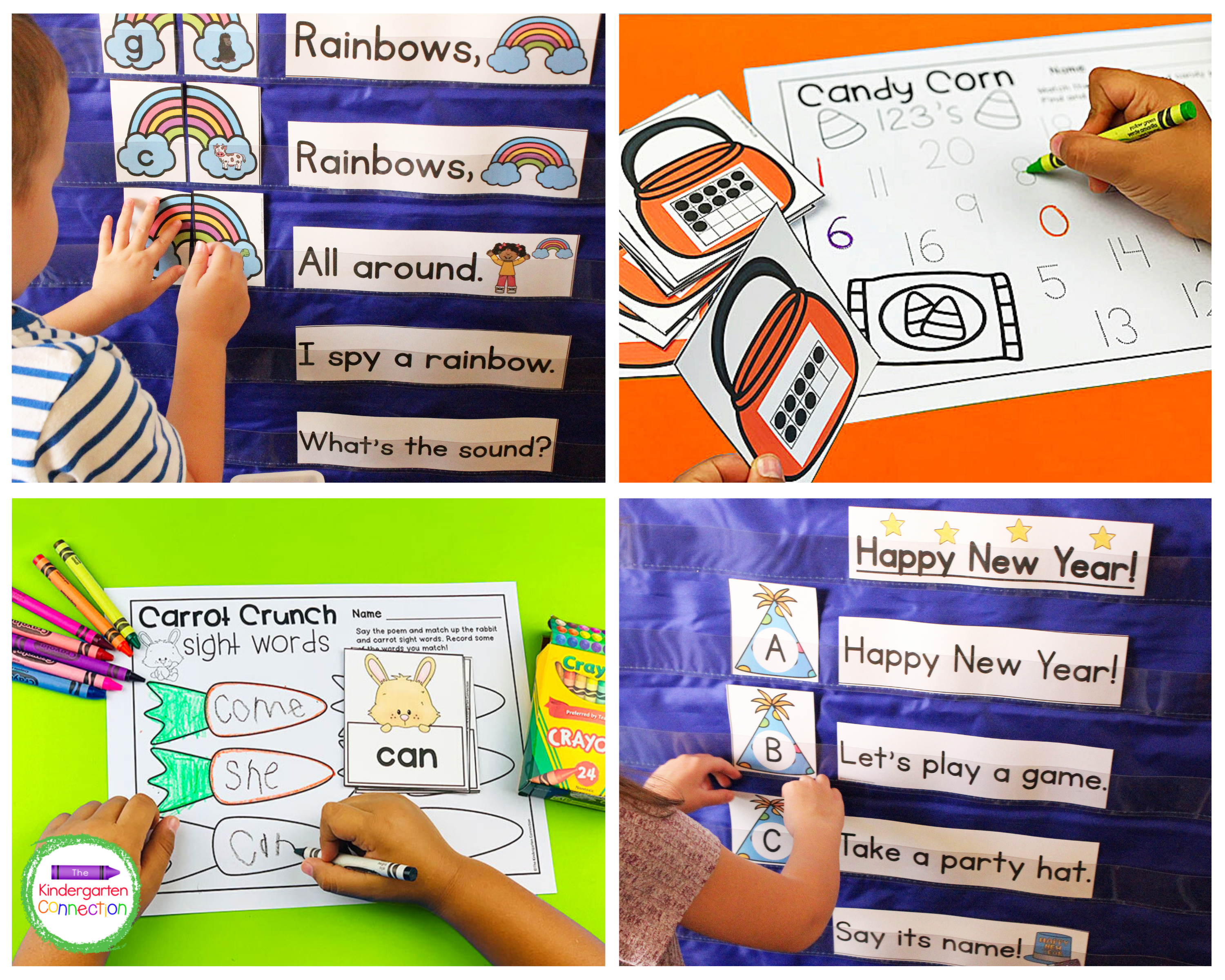 Use these pocket chart activities and chants to practice sight words, numbers recognition, counting, and more.