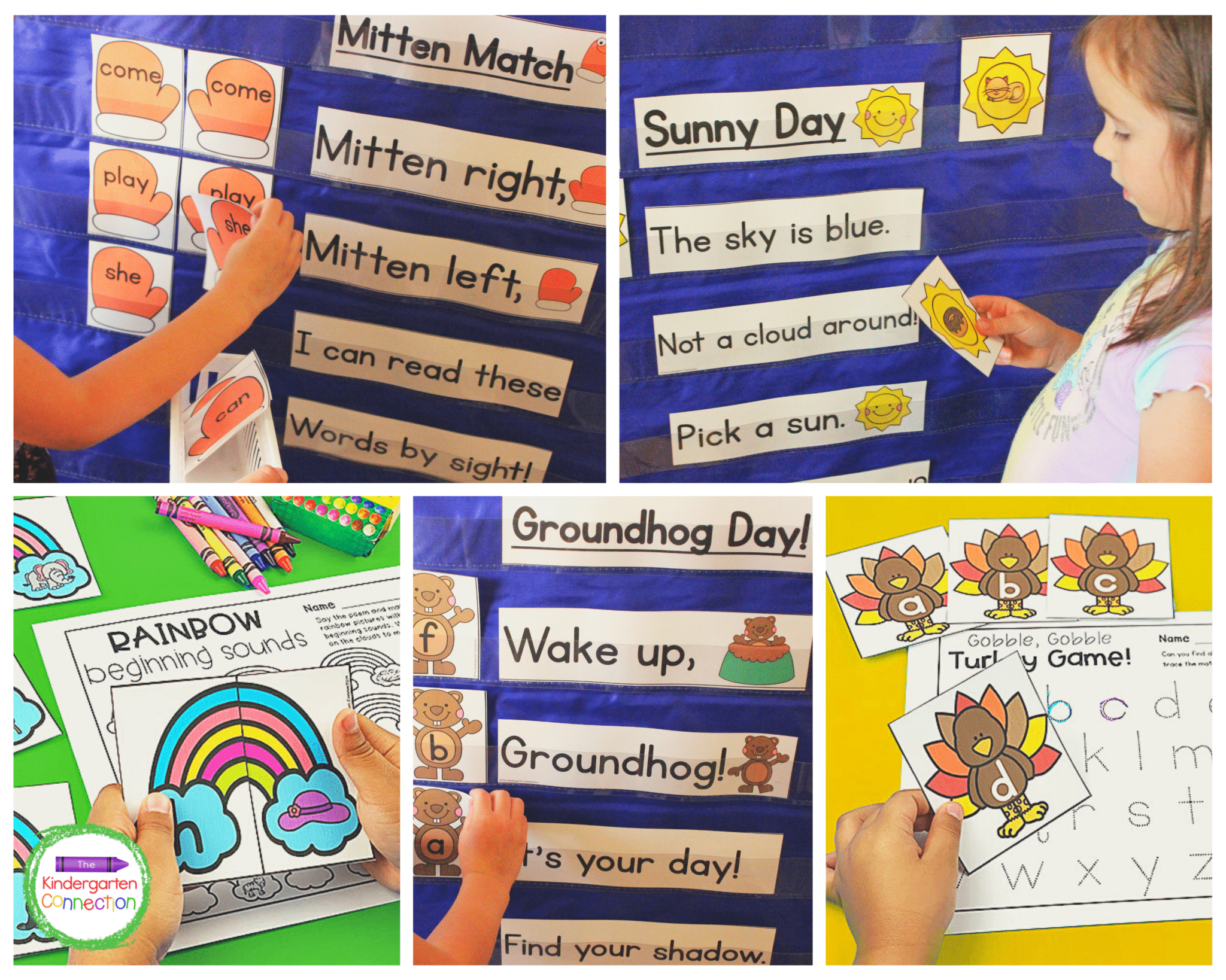 Each of the pocket chart activities includes recording sheets that are perfect for circle time or centers!