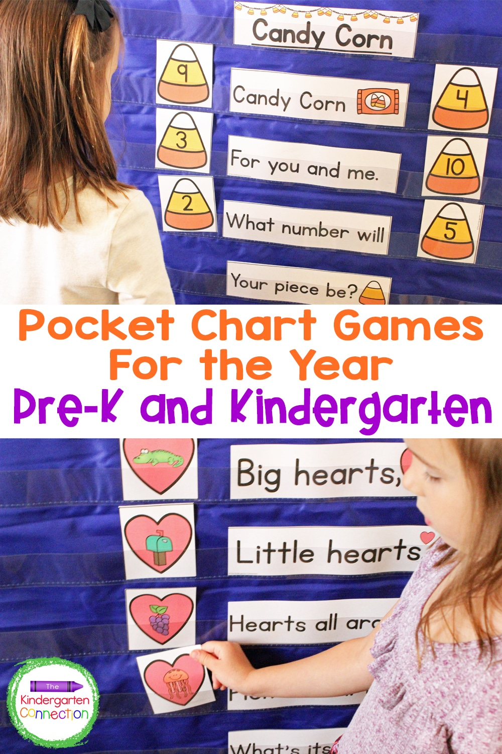 This Pocket Chart Activities & Centers Bundle for Pre-K and Kindergarten includes 10 sets of hands-on, monthly pocket chart activities!