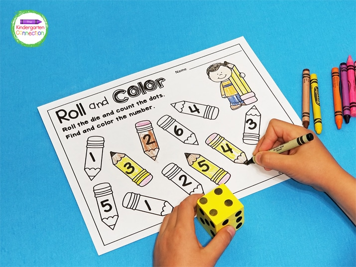 For the counting games, simply roll the die, count the dots, and then color the object with that number!