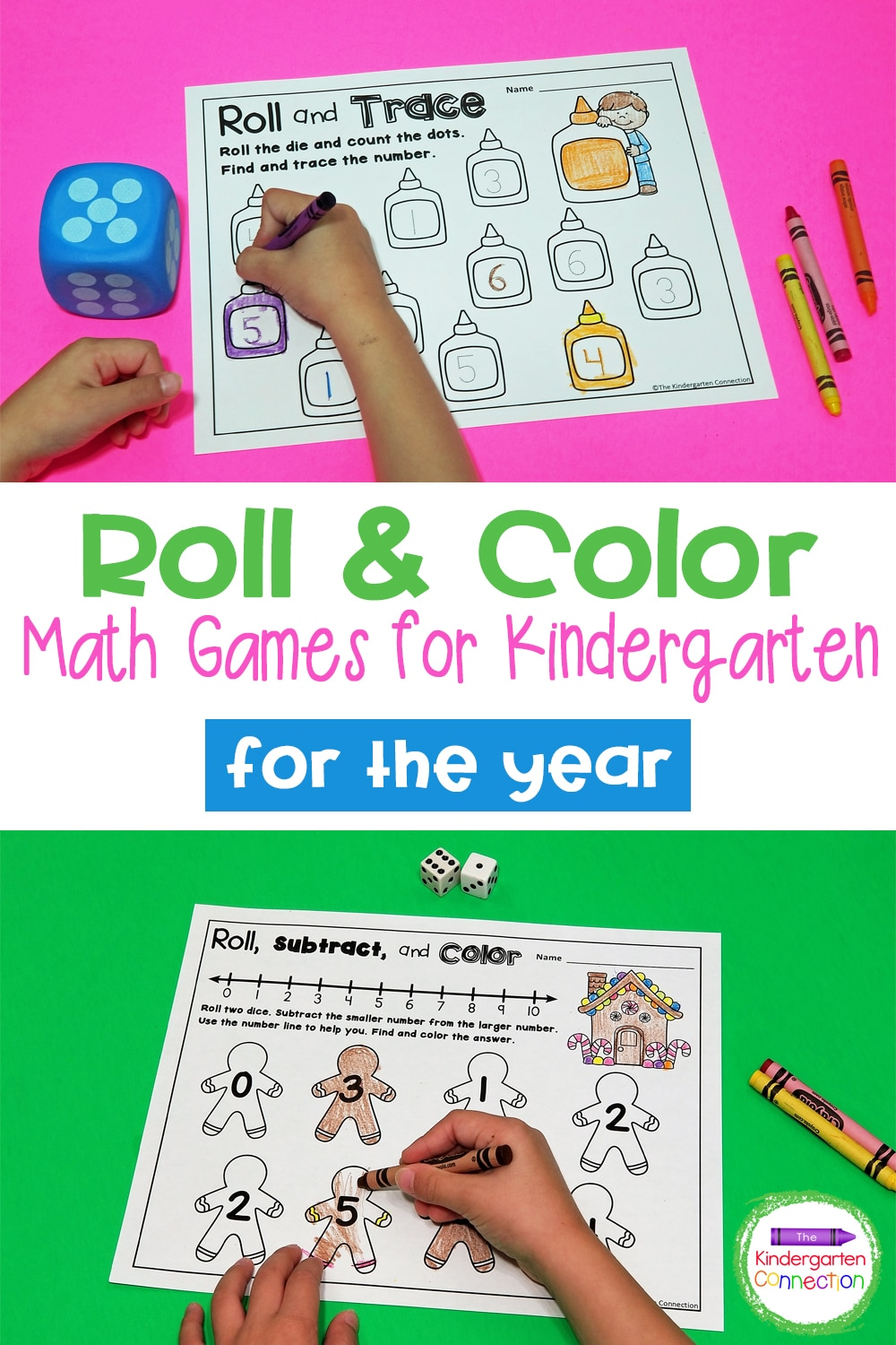 These Roll and Color Dice Math Games are great for working on number identification, counting, addition, and subtraction all year long!