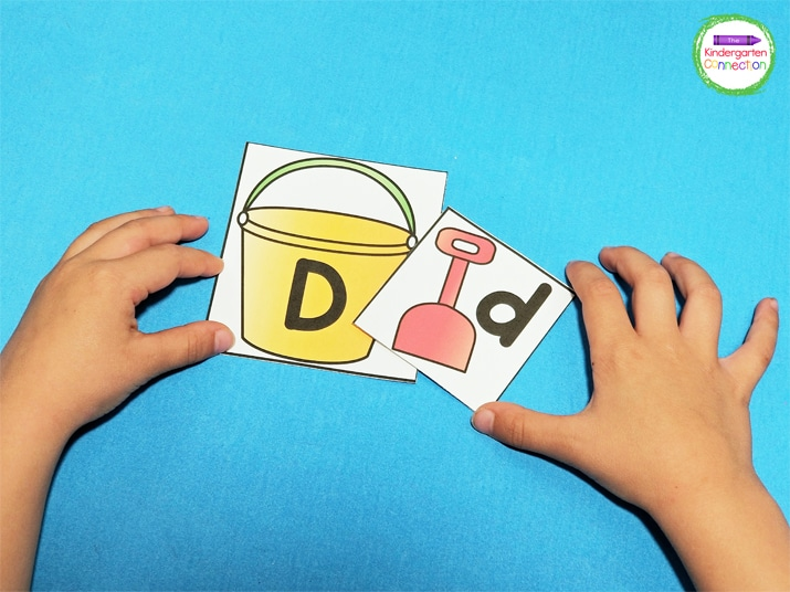 Print, laminate, and cut the alphabet matching cards for an engaging literacy center.