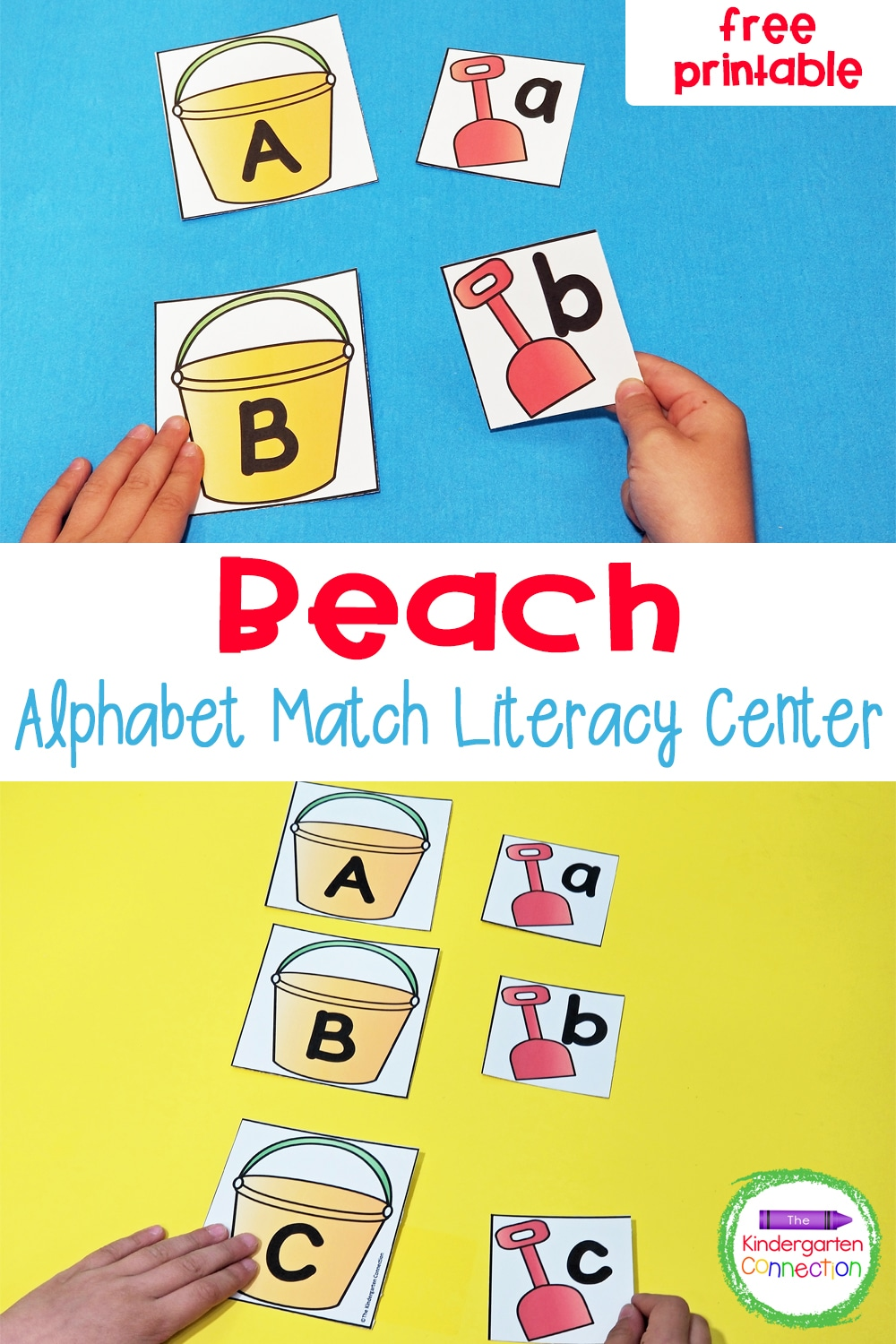 This free Sand Pail and Shovel Alphabet Match is a fun, hands-on way to practice letter recognition in Pre-K & Kindergarten!