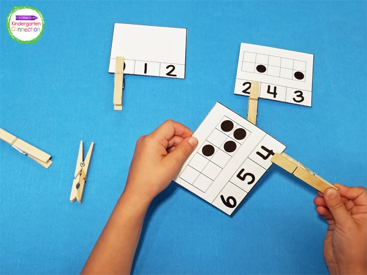 On these subitizing math clip cards, the ten frames are not filled in order, but rather with scattered dots.