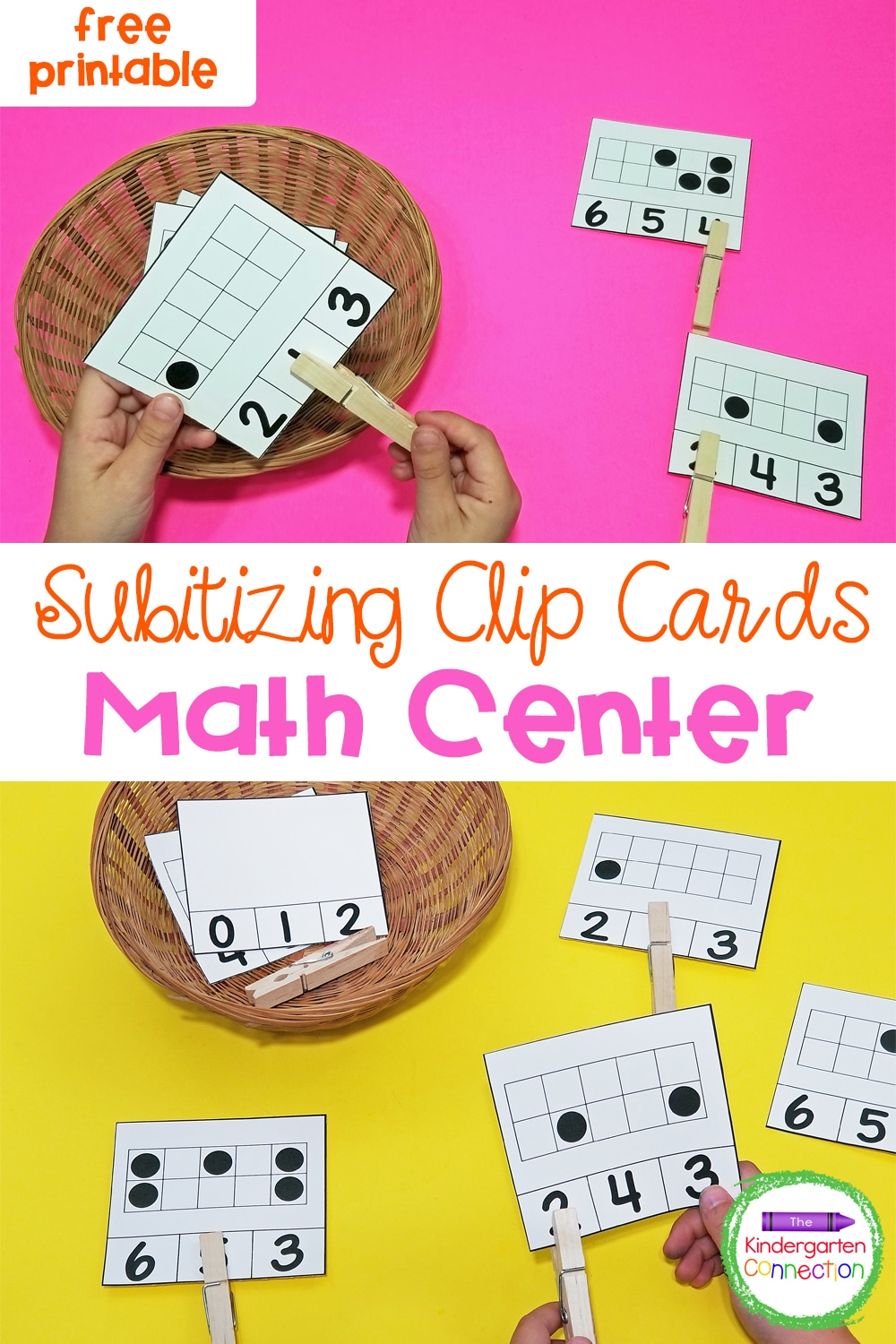 These fun and free Subitizing Math Clip Cards for Pre-K & Kindergarten will help your students build subitizing skills and number sense!