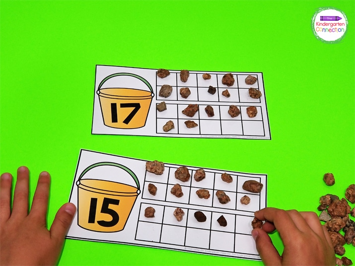 Small rocks or any small manipulative works great for filling up the ten frames.