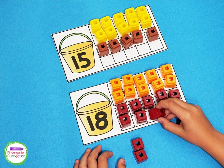 Students will look at the number in the bucket and use the counters to fill in the ten frame to match.