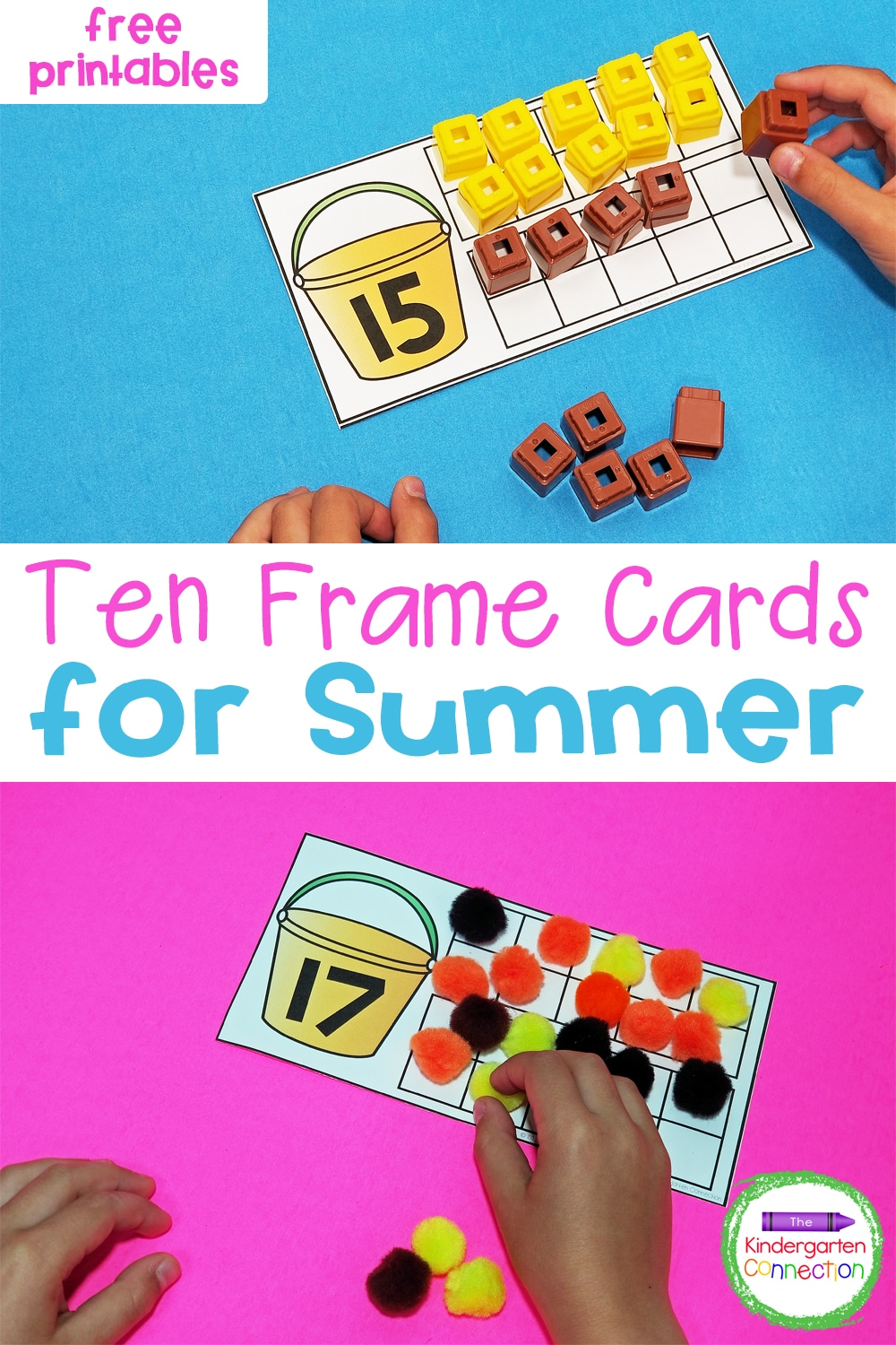Grab these FREE Summer Teen Number Ten Frame Cards and practice counting tricky teens in your Kindergarten math centers and small groups!