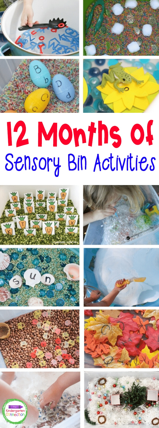 Check out these tips for how to make 12 Months of Sensory Bin Activities that are perfect for Pre-K and Kindergarten classrooms!