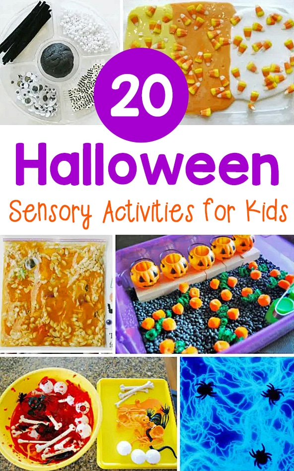 These 20 Halloween sensory activities offer tons of hands-on fun for kids to do at home or in the classroom this fall season!