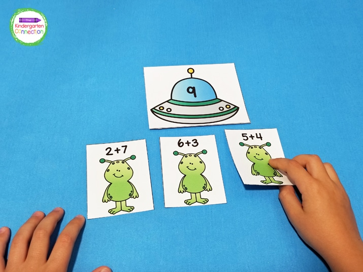 In this activity, the aliens have addition facts to 10 on them, and the spaceships have sums from 2-10.