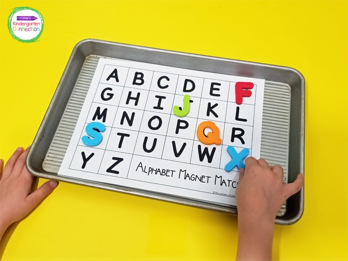 The letters on the printables go in order, which is an additional opportunity to explore alphabetical order as well as letter recognition.