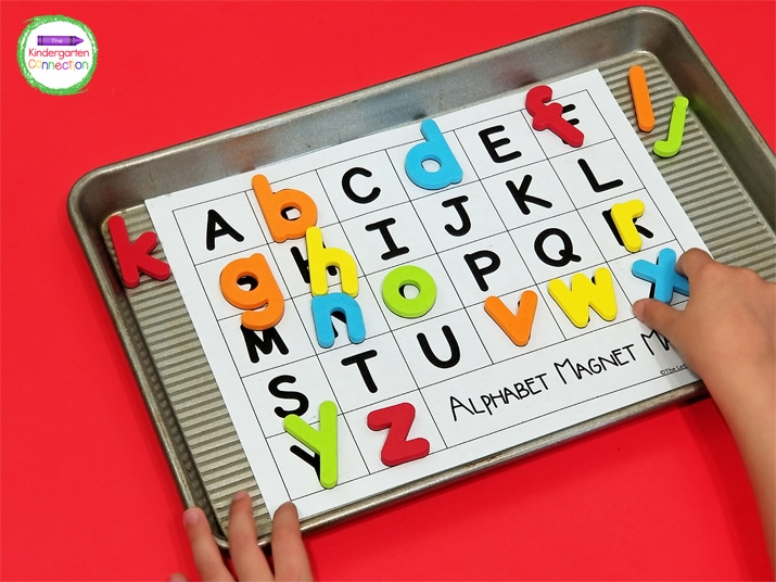 Just grab some letter magnets, cookie sheets, and the free alphabet printables for this easy-prep literacy activity.