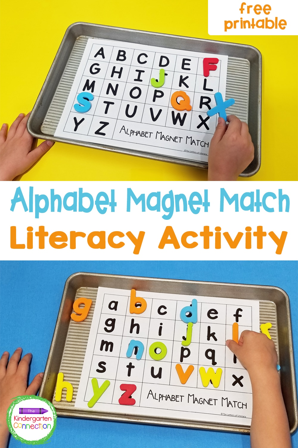 Make learning the alphabet fun and hands-on with this free printable Alphabet Magnet Match! Just grab some magnets and a cookie sheet!