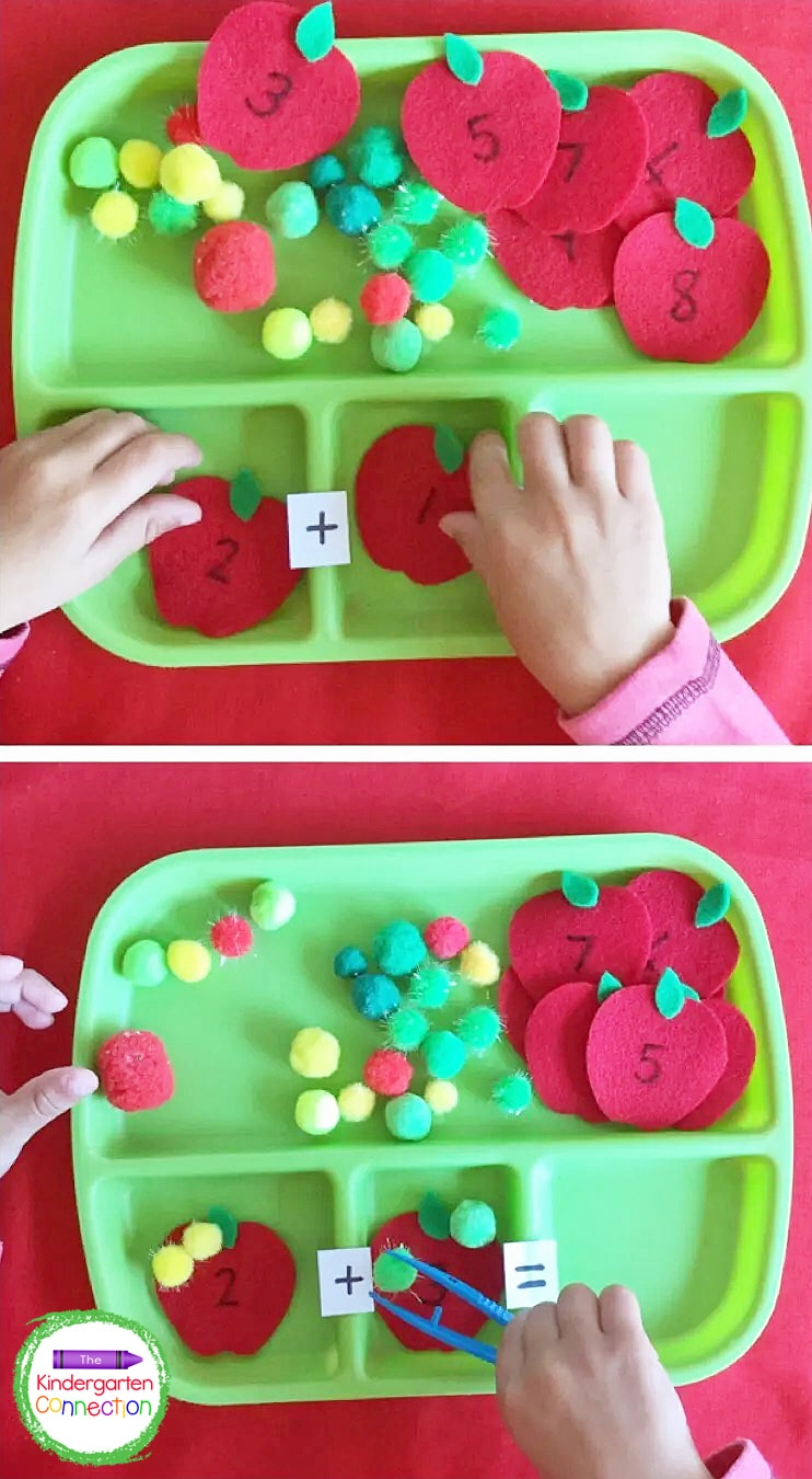 Write numbers on felt apples to create addition sentences for the kids to build with pom poms.