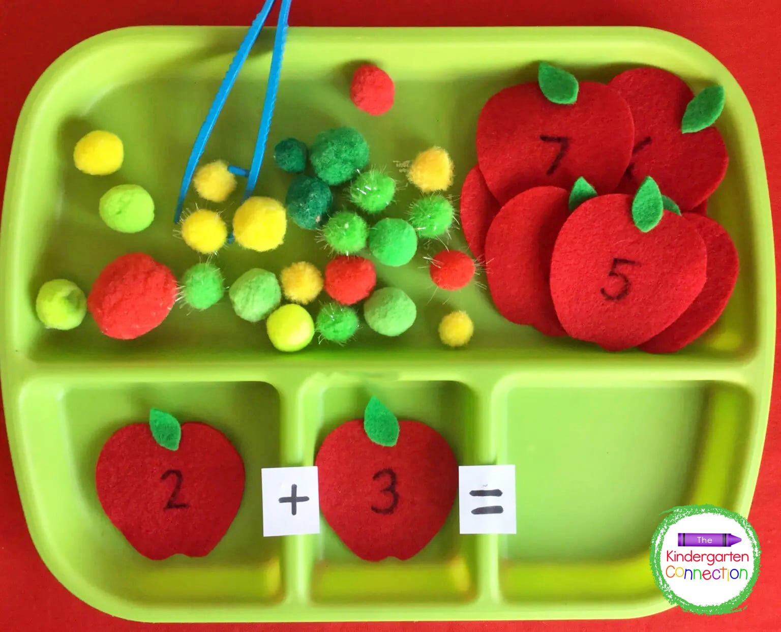 Grab some felt, pom poms, and jumbo tweezers for a simple and fun addition activity.