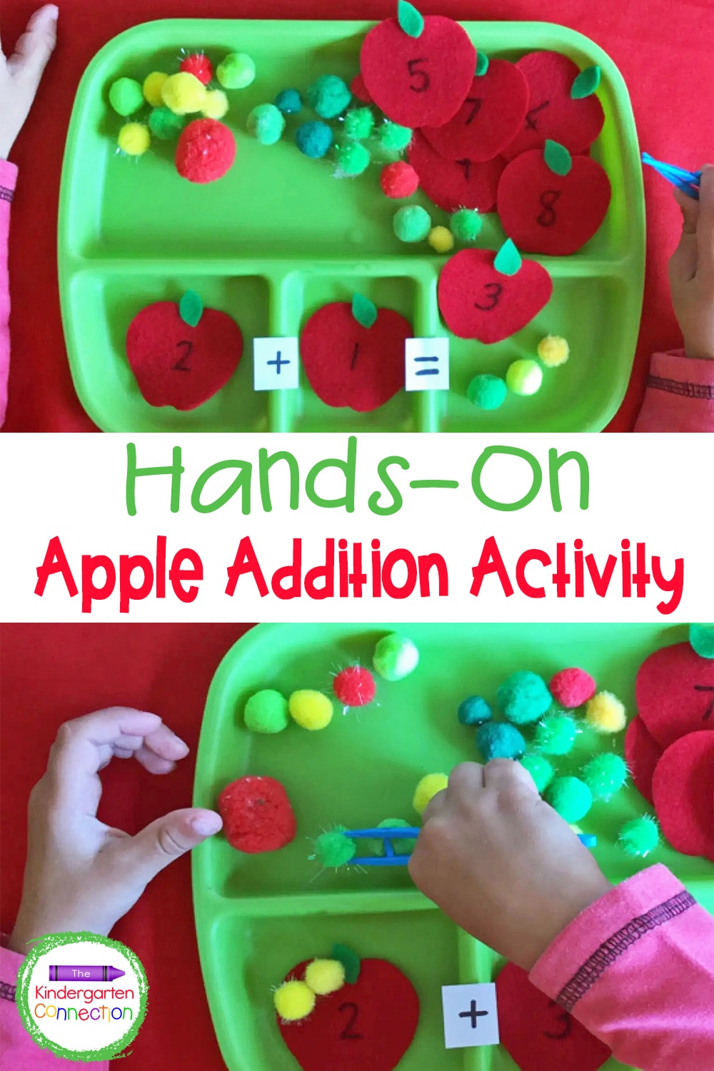 Make numbered felt apples and use pom poms as counters in this hands-on Apple Addition Activity for Kindergarten!