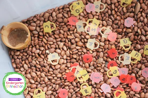 This alphabet sensory bin provides tons of hands-on fun as the kids search through the beans for letters.