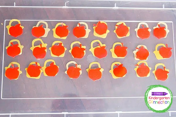 This apple confetti is perfect for using as our alphabet pieces.