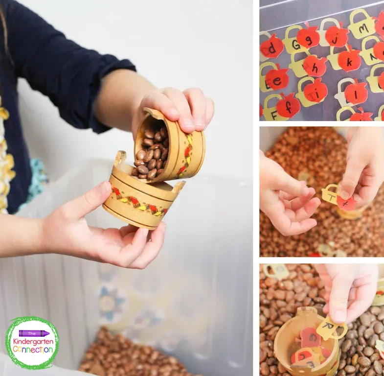Beans, apple confetti, and a large container are all you need to make this fun sensory bin.