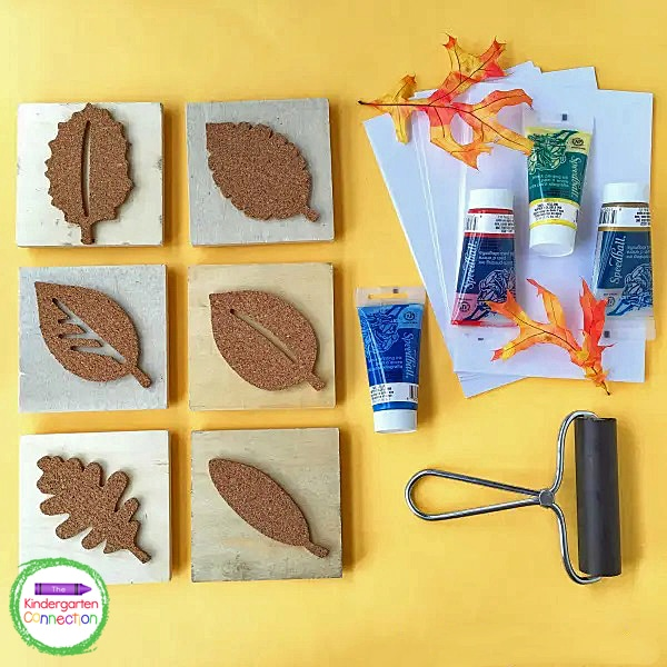 Grab some block printing ink, a brayer, leaf stamps, and cardstock to make this beautiful autumn canvas art.