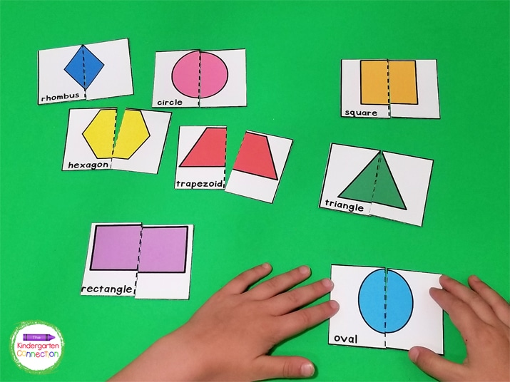 Print, laminate, and cut the shape puzzles in half to make this engaging math center.