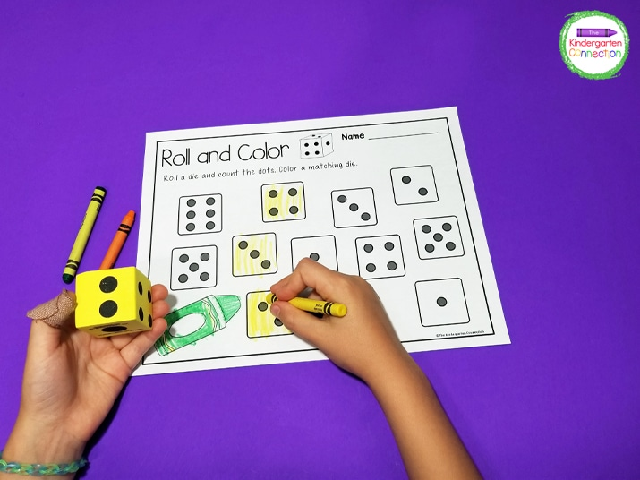 To play, students roll a die and count the dots. Then they find and color a matching die on the recording sheet.